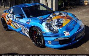 Projekt i wykonanie grafiki reklamowej na samochodzie Porsche.