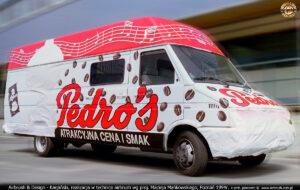Proces malowania reklamy kawy Pedros dla Strauss Cafe Poland 1994.