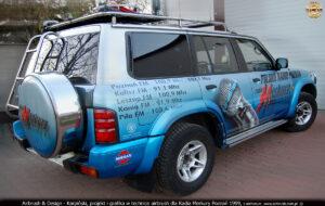 Projekt i wykonanie reklamy na samochodzie wozie transmisyjnym Radia Poznań 1999.