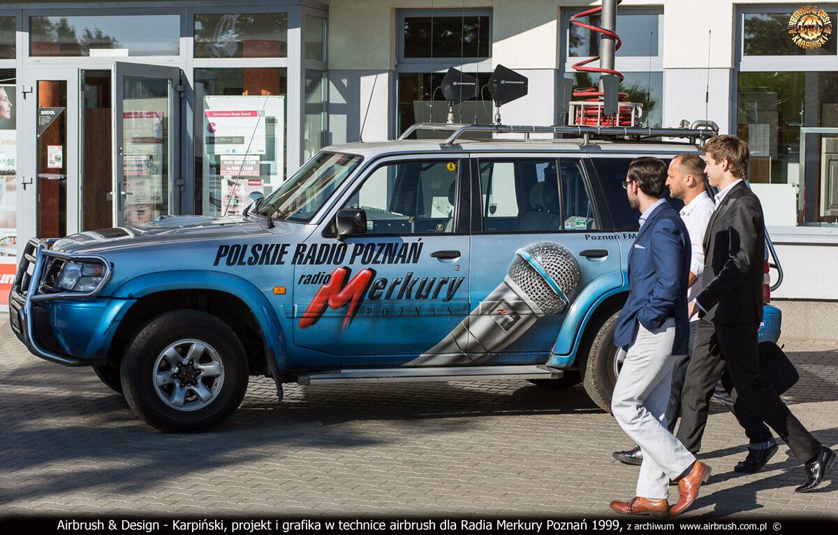 Projekt i wykonanie reklamy w technice airbrush na samochodzie - wozie transmisyjnym Radia Merkury Poznań 1999.