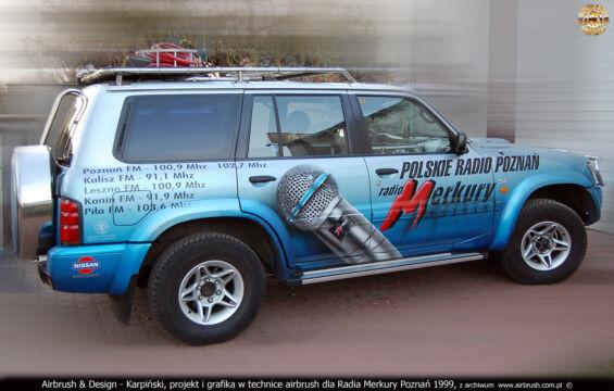 RADIO MERKURY POZNAŃ – WÓZ TRANSMISYJNY NISSAN PATROL GR 2.8 TDI – PROJEKT I WYKONANIE REKLAMY W TECHNICE AIRBRUSH