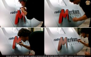 Projekt i grafika w technice airbrush dla Radia Merkury Poznań