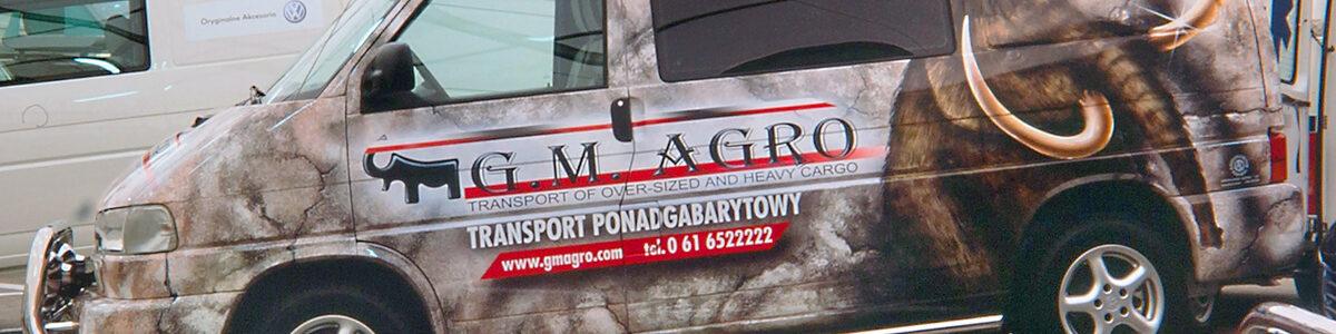 Reklama na samochodzie na VW Transporter T4 dla GM Agro Mamuty.