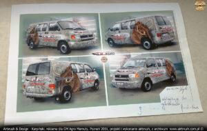 Projekt reklamy na VW Transporter T4 dla GM Agro Mamuty.