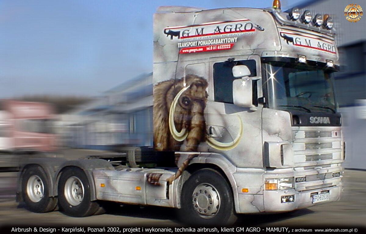 Projekt i reklama na ciągniku siodłowym Scania 124L 400 Topline dla GM AGRO.