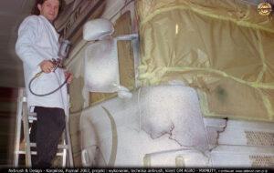 Proces malowania reklamy na ciągniku siodłowym Scania 124L 400 Topline dla GM AGRO.