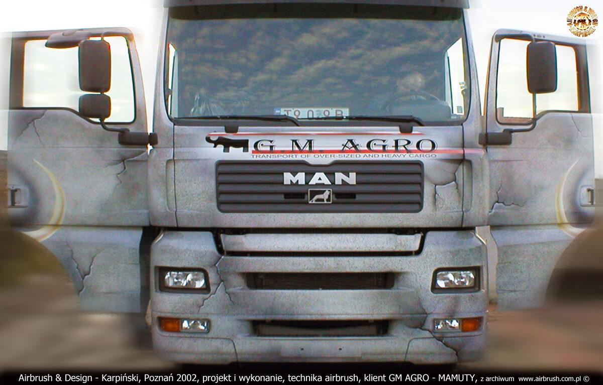 Projekt i reklama na samochodzie, ciągniku siodłowym MAN TGA 18.410 w technice airbrush dla GM Agro Mamuty.