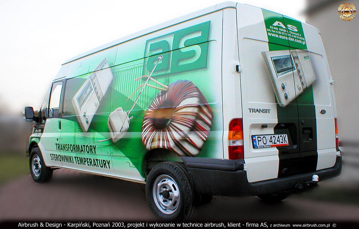 Projekt i wykonanie reklamy na samochodzie Ford Transit w technice airbrush dla firmy AS.