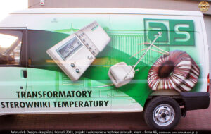 Reklama samochodowa sterowników i transformatorów dla firmy AS.