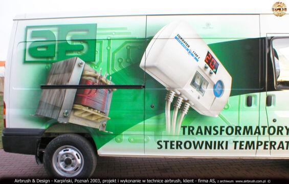 AS ELEKTRONIKA I TRANSFORMATORY – FORD TRANSIT 125 T350 – PROJEKT I WYKONANIE REKLAMY W TECHNICE AIRBRUSH
