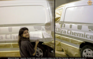 Proces malowania reklamy w technice airbrush dla CIH Ultra Chemicals.