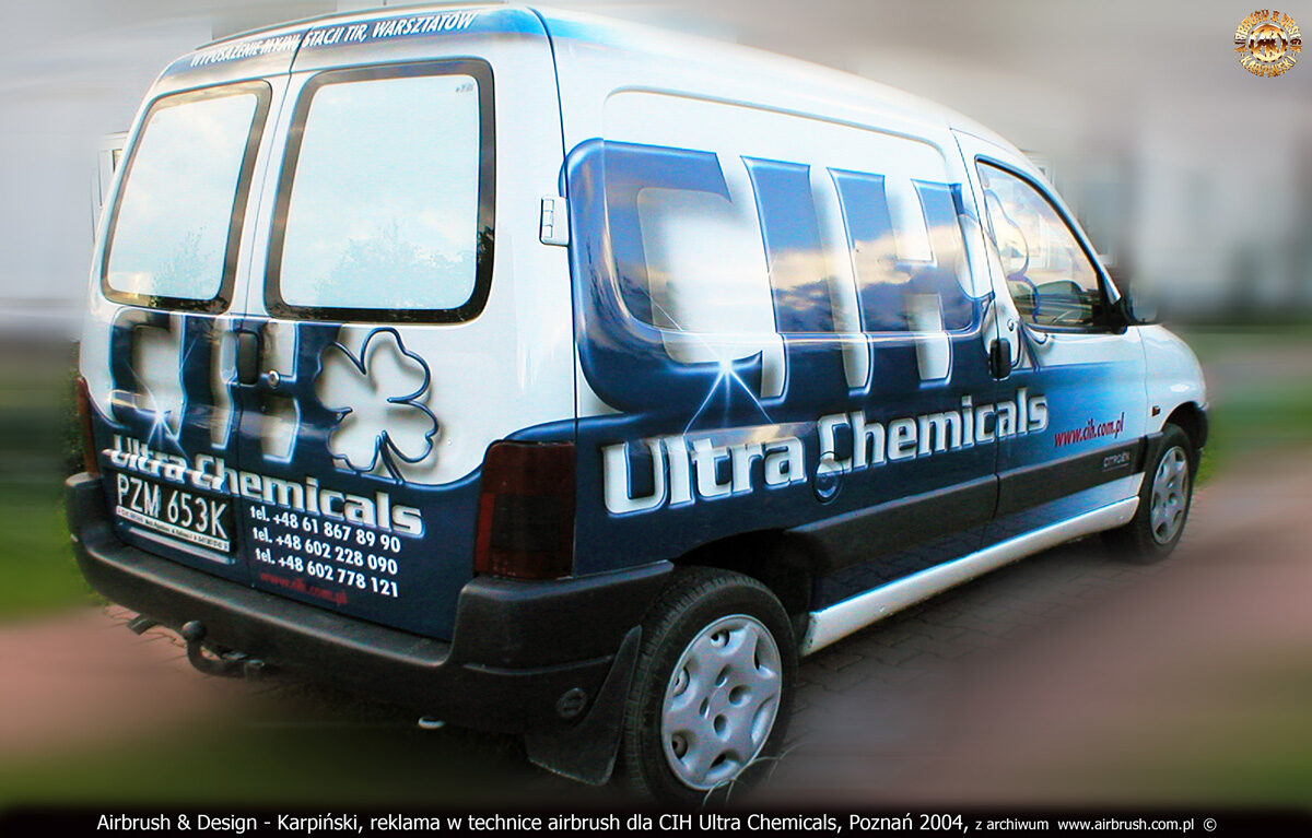 Reklama na samochodzie Citroen Berlingo w technice airbrush dla CIH Ultra Chemicals.