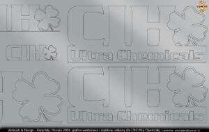 Grafika wektorowa i szablony do wykonania reklamy w technice airbrush dla CIH Ultra Chemicals.