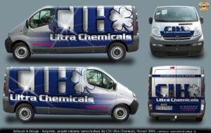 Projekt reklamy na samochodzie w technice airbrush dla CIH Ultra Chemicals.