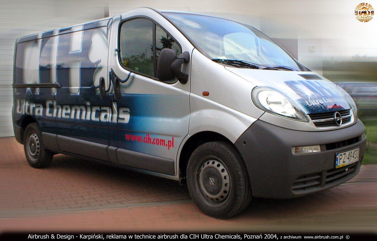 Reklama w technice airbrush na samochodzie Opel Vivaro dla CIH Ultra Chemicals.
