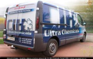 Reklama na samochodzie w technice airbrush dla CIH Ultra Chemicals.