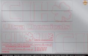 Grafika wektorowa i szablony do reklamy dla CIH Ultra Chemicals, Poznań 2004.