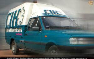 Reklama na samochodzie Polonez Truck w technice airbrush dla CIH Ultra Chemicals, Poznań 2004.