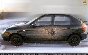 Grafika reklamowa w technice airbrush dla firmy Montownia.com na samochodzie Daewoo Lanos, Poznań 2005.