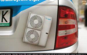 Reklama na samochodzie Skoda w technice airbrush dla firmy Lars.