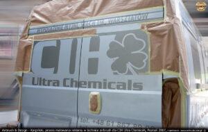 Proces malowania reklamy na samochodzie Fiat Ducato dla CIH Ultra Chemicals.