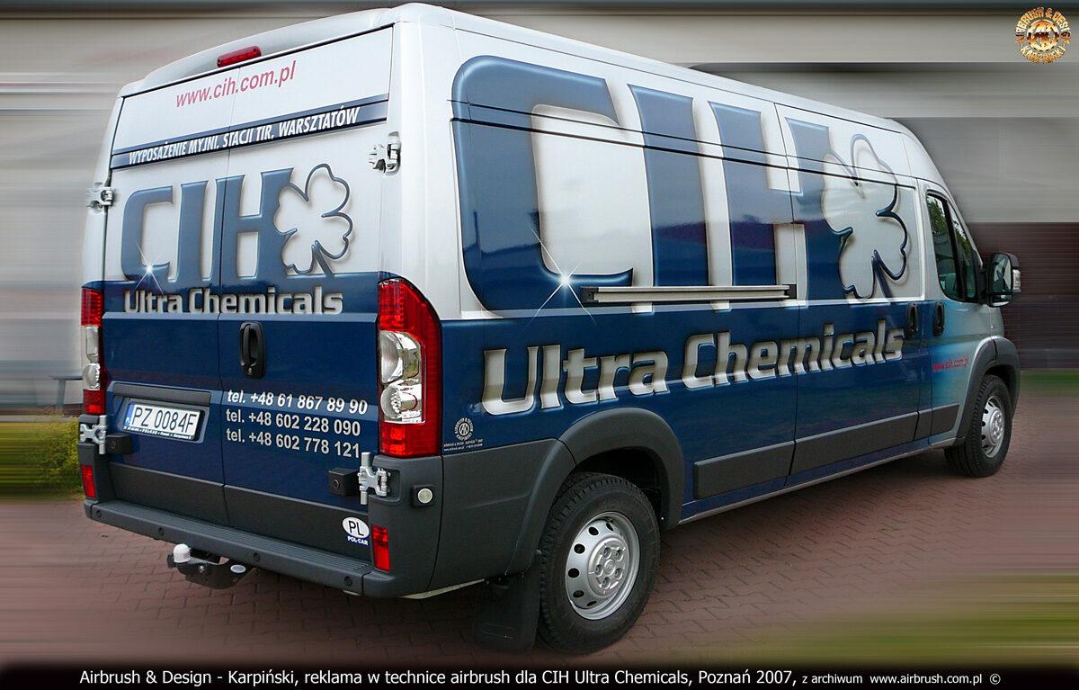 Reklama w technice airbrush na samochodzie Fiat Ducato dla CIH Ultra Chemicals.
