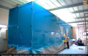 Proces malowania reklamy wielkoformatowej w technice lakierniczej dla firmy Sebo 2010 r.