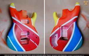 Airbrush & Design - Karpiński, Poznań 2012, proces malowania gitary Ibanez, aerograf, farby Aerocolor, z archiwum  www.airbrush.com.pl  ©