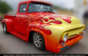 2013.07.11 grafika w technice airbrush na samochodzie Ford Pick-up z 1955 r.