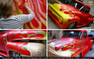 2013.07.11 proces malowania grafiki w technice airbrush na samochodzie Ford Pick-up z 1955 r.