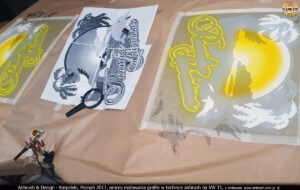 2017-04-11 VW-T1 Paradise Adventures proces malowania grafiki w technice airbrush.