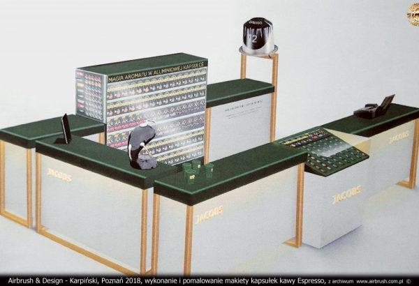 Airbrush & Design - Karpiński, Poznań 2018, wykonanie i pomalowanie makiety kapsułek kawy Espresso, z archiwum  www.airbrush.com.pl  ©