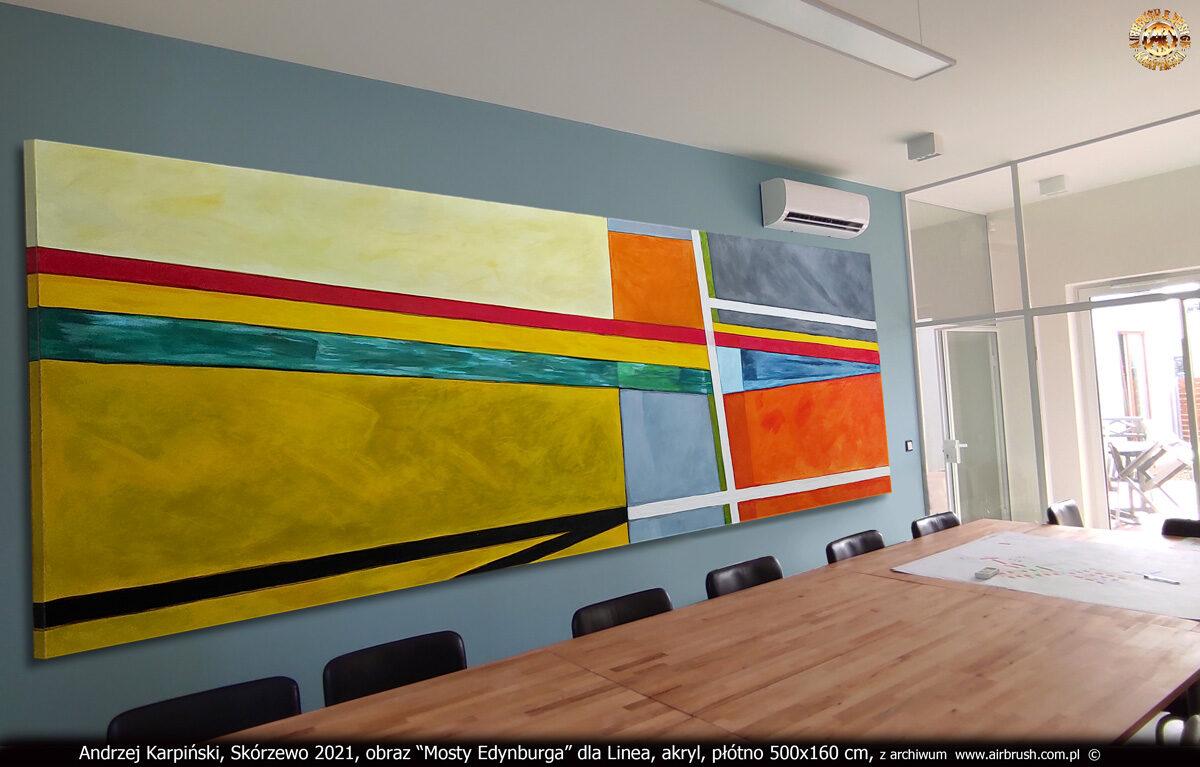 """""""Mosty Edynburga"""" w sali konferencyjnej Linea, akryl, płótno 500x160 cm, Andrzej Karpiński."""