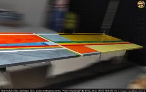 """Proces werniksowania obrazu """"Mosty Edynburga"""" dla Linea, akryl, płótno 500x160 cm."""