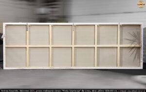 """Rewers krosna 500x160 cm z napiętym płótnem do obrazu """"Mosty Edynburga""""."""