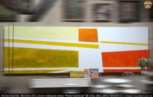 """Proces malowania obrazu """"Mosty Edynburga"""" dla Linea, akryl, płótno 500x160 cm."""