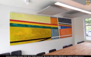 """""""Mosty Edynburga"""" dla Linea, akryl, płótno 500x160 cm, Andrzej Karpiński."""