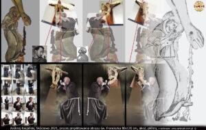 """Proces projektowania obrazu """"Ujrzany w Arezzo"""" św. Franciszek 80x120 cm, akryl, płótno. Andrzej Karpiński, Skórzewo 2021."""