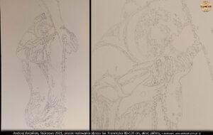 """Proces malowania obrazu """"Ujrzany w Arezzo"""" św. Franciszek 80x120 cm, akryl, płótno. Andrzej Karpiński, Skórzewo 2021."""