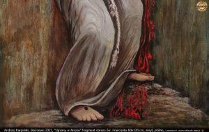 """Fragment obrazu """"Ujrzany w Arezzo"""" 80x120 cm, akryl, płótno. Andrzej Karpiński, Skórzewo 2021."""