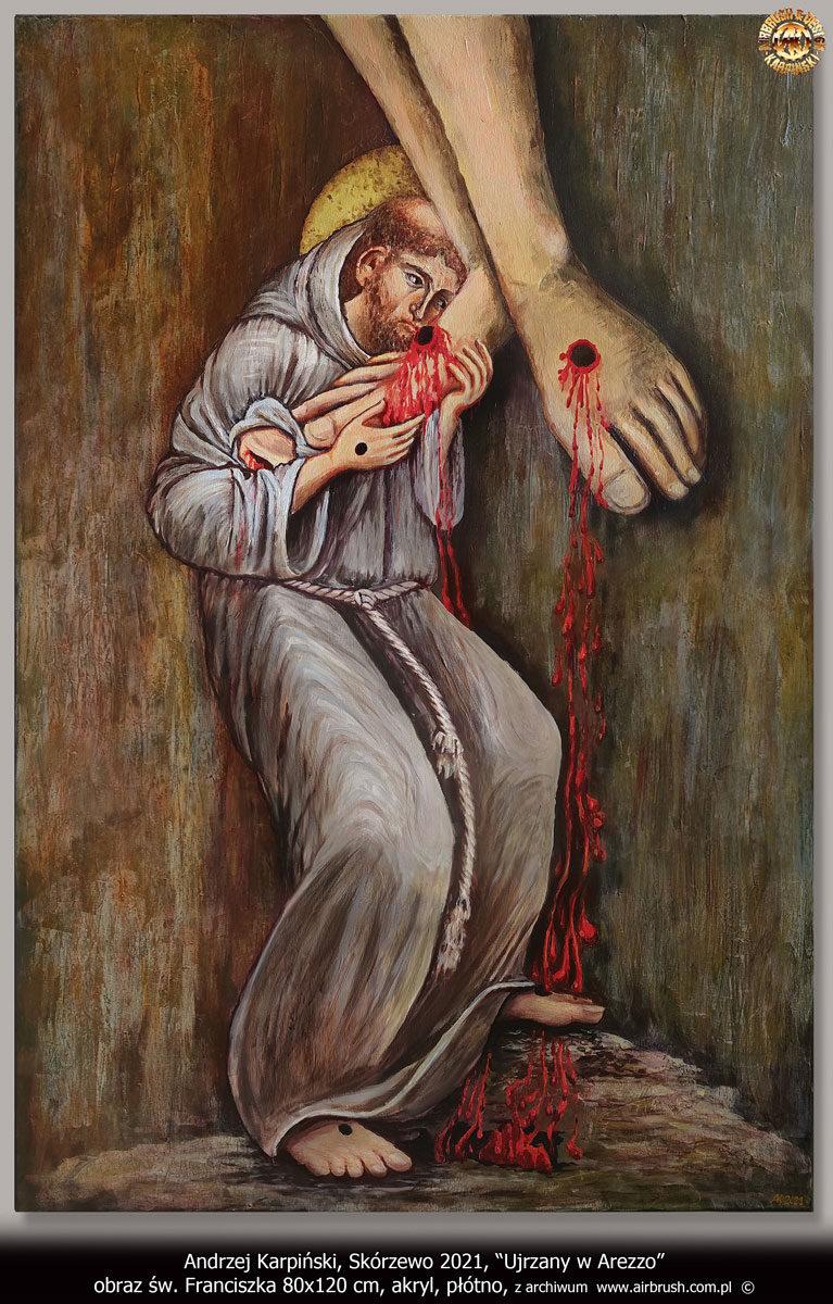 Ujrzany w Arezzo św. Franciszek 80x120 cm, akryl, płótno. Andrzej Karpiński, Skórzewo 2021.