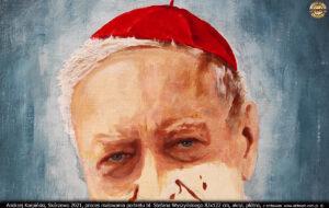 Andrzej Karpiński, Skórzewo 2021, proces malowania portretu bł. Stefana Wyszyńskiego 82x122 cm, akryl, płótno.