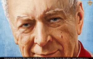 Andrzej Karpiński, Skórzewo 2021, fragment portretu bł. Stefana Wyszyńskiego 82x122 cm, akryl, płótno.