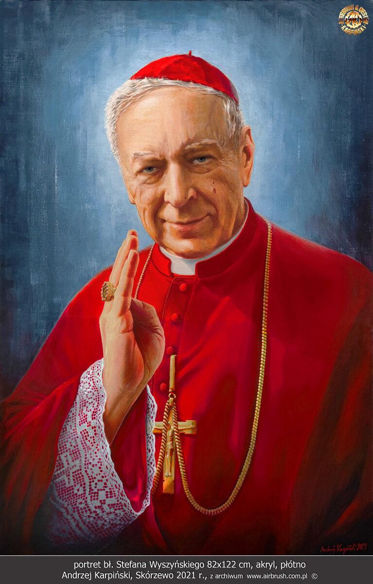 Andrzej Karpiński, Skórzewo 2021, portret bł. Stefana Wyszyńskiego 82x122 cm, akryl, płótno.