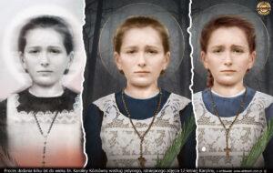 Proces dodania kilku lat do wieku bł. Karoliny Kózkówny według jedynego, istniejącego zdjęcia 14-letniej Karoliny.