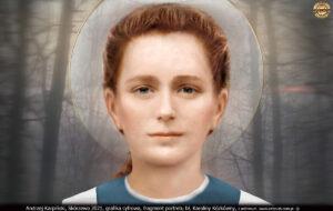 Grafika cyfrowa, fragment portretu bł. Karoliny Kózkówny, Andrzej Karpiński 2021 r.