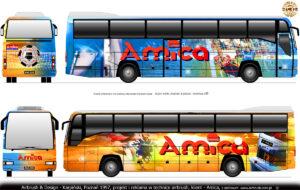 Projekt graficzny malowania autokaru Mercedes Cezar Autosan A404T dla piłkarzy Amika Wronki i Lech Poznań.