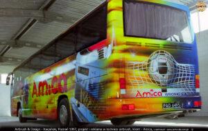 Autokar Mercedes Cezar Autosan A404T piłkarzy Lech Poznań i Amica Wronki 1997.