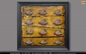 """Andrzej Karpiński - """"12 x DM 3,99,-"""", olej, złotol karton 70x70cm, 1989r., z arch. Andrzeja Karpińskiego © www.airbrush.com.pl"""