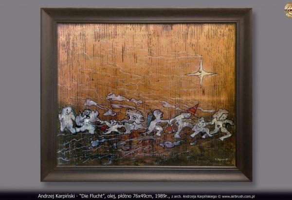 """Andrzej Karpiński - """"Die Flucht"""", olej, płótno 76x49cm, 1989r., z arch. Andrzeja Karpińskiego © www.airbrush.com.pl"""